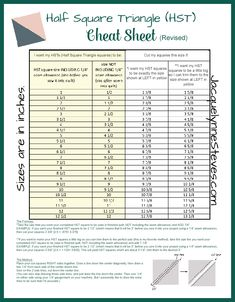 Square Triangle (HST) Cheat Sheet and Tutorial Half Square Triangle (HST) Cheat Sheet and Tutorial - Jacquelynne StevesHalf Square Triangle (HST) Cheat Sheet and Tutorial - Jacquelynne Steves Half Square Triangle Quilts Pattern, Le Triangle, Half Square Triangles, Square Quilt, How Many Squares In A Quilt, Quilt Size Charts, Quilt Sizes, Quilting Tips, Quilting Tutorials