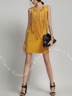 Maize Yellow Shift Dress #ShiftDress #Work #MaizeYellow #Tassels http://www.macaronfashion.com/dresses/view-all/maize-yellow-shift-dress.html