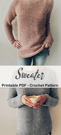 Crochet Jumper Pattern, Baby Sweater Patterns, Crochet Wool, Chunky Crochet, Diy Crochet Cardigan, Crochet Jumpers, Crochet Sweaters, Modelista, Crochet Clothes