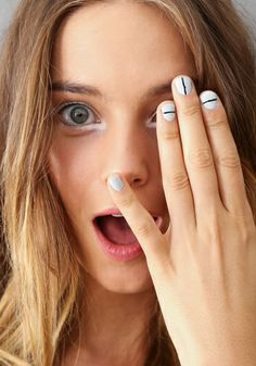Nail Art Gets a Much Needed Make-Under: Tibi: Jin Soon Choi painted a thin white line on simple white nails. This was a fave of mine.