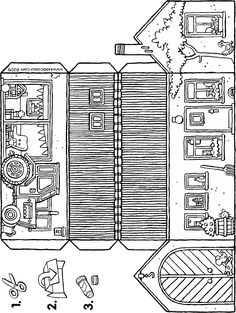 Easy Coloring Pages, Colouring Pics, Coloring Books, Fun Arts And Crafts, 3d Paper Crafts, House Template, Paper Houses, Small Farm, Craft Activities For Kids