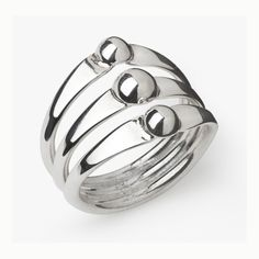 3 Ball Ring - Velvetblu  Sterling Silver Ring.  Edgy design with three polished balls, providing balance.  A beautiful ring for everyday that will be noticed.