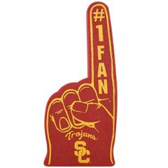 """USC Trojans Cardinal #1 Fan Foam Finger by Football Fanatics. $5.95. Officially licensed NCAA product. Made of foam. Screen print graphics. Approximately 17"""" x 7.5"""". Make sure your Trojans fandom can be seen from anywhere in the stands when you're waving this #1 Fan foam finger featuring printed team logos on the front and back!Made of foamScreen print graphicsApproximately 17"""" x 7.5""""Officially licensed NCAA product"""