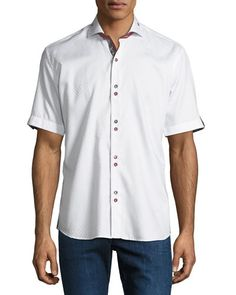 Shaped-Fit Fresh-Square Double-Button Sport Shirt, White