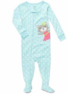 Carter's Polka Dot Kitty Pajamas TURQUOISE 12 Mo, Carter's 1-Piece Cotton - Kitty, #Apparel, #Footies