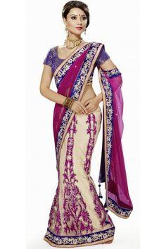 Classic Net Off White and Pink Lehenga Saree