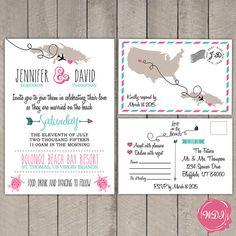 Tropical Island Destination Travel Wedding Invitation & RSVP Postcard by WeddingPlanningShop