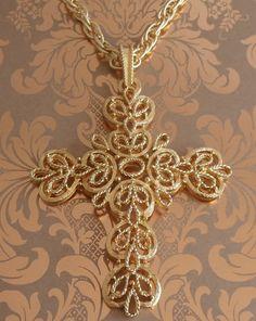 Vintage Crown Trifari Brushed Gold Filigree Ornate Cross Necklace ~ by StarliteVintageGems SOLD Necklace Sizes, Gold Necklace, Cross Necklaces, Gold Filigree, Gold Cross, Rope Chain, Necklace Designs, Crosses, Vintage Designs