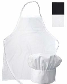 ObviousChef Kids - Child's Chef Hat and Apron Set Kid's Size (M 6-12 Year, White)