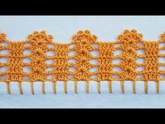 Bico em crochê simples e fácil de fazer - YouTube Crochet Shell Pattern, Crochet Edging Tutorial, Free Crochet Doily Patterns, Crochet Lace Edging, Granny Square Crochet Pattern, Crochet Borders, Crochet Cross, Crochet Art, Filet Crochet
