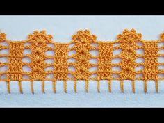 Bico em crochê simples e fácil de fazer - YouTube Crochet Shell Pattern, Crochet Edging Tutorial, Free Crochet Doily Patterns, Crochet Lace Edging, Granny Square Crochet Pattern, Crochet Borders, Crochet Cross, Crochet Art, Filet Crochet
