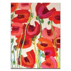 Artist Lane Crazy Poppies by Anna Blatman Framed Painting Print on Wrapped Canvas