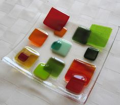 Fused Glass Plate, Glass Squares in Red, Orange, Amber, and Green, Christmas Glass Plate by Shakufdesign on Etsy https://www.etsy.com/listing/164036391/fused-glass-plate-glass-squares-in-red
