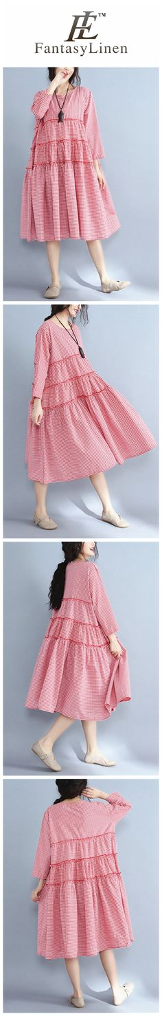 Korean Style Plus Size Loose Cotton Dress Women Clothes