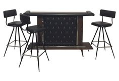 Mid-Century Modern Bar with Set of 3 Bar Stools on Chairish.com