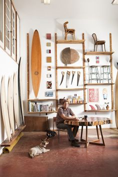 Feature on Danny Hess. Hess shapes surfboards out of recyclable materials and sustainably harvested wood. He and three friends opened Woodshop, a studio and showroom in Outer Sunset.