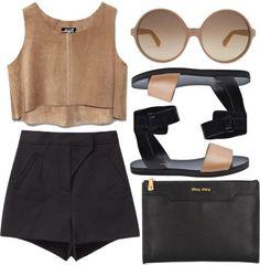 camel shell top. black high waist short. black or nude flat sandals . oversize black clutch