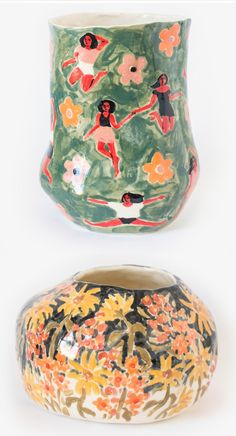 Ceramics by Leah Goren | illustrated ceramics | handcrafted ceramics | painted pots | flower pattern | flower pots