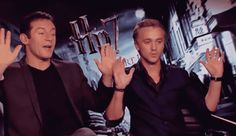 "Interviewer: ""But I did bring my Harry Potter wand"" (points at them)  Tom Felton: ""Woah easy!""  Jason Isaacs: ""Don't point that thing at us!"""