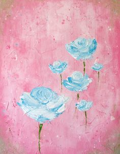 abstract roses painting aqua and pink by melissamaryjenkins, $70.00