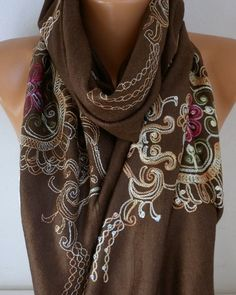 Brown Embroidered ScarfSummer Shawl Oversized by fatwoman on Etsy