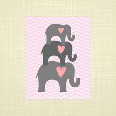 Pink and Gray Elephants Nursery print Kids Wall Art by RosyHuesArt, $14.00