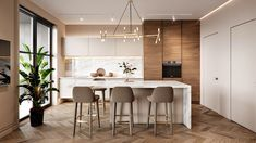 Interior design of apartment. Modern apartment with classic elements. In soft, l… Interior design of apartment. Modern apartment with classic elements. In soft, light colors. Kitchen Room Design, Home Decor Kitchen, Interior Design Kitchen, Modern Interior Design, Home Kitchens, Room Kitchen, Modern Classic Interior, Contemporary Kitchen Design, Modern Contemporary