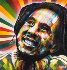 Bob Marley. Tela. Eduardo Kobra (S.Paulo, SP, Brasil, 1976 - ).