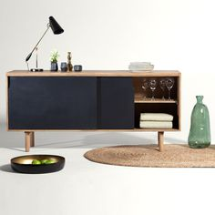 Buffet 2 portes 3 tiroirs CAMDEN coloris chêne/ noir - pas cher ? C ...
