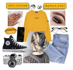 """""""#47"""" by s-fashionalien ❤ liked on Polyvore featuring Everlane, Essie, BackToSchool, yellow, Sweater and ootd"""