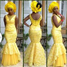 "Nigerian Wedding Presents ""Rise Of The Monotone Aso-ebi""- Check Out Latest Monotone Aso-ebi Styles & Classy Fabrics To Inspire You This 2015 - Nigerian Wedding African Attire, African Wear, African Women, African Dress, African Outfits, Ankara Dress, African Clothes, African Beauty, Yellow Wedding Dress"