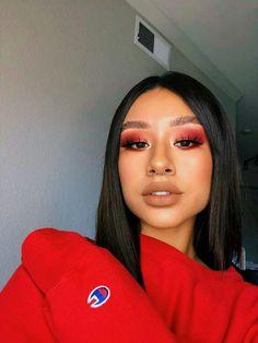 Rote-Augen-Make-up-Idee zu versuchen Glam Makeup, Red Eye Makeup, Smokey Eye Makeup, Cute Makeup, Pretty Makeup, Skin Makeup, Makeup Inspo, Makeup Inspiration, Makeup Ideas