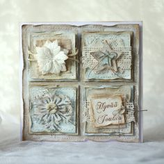 Shabby chic handmade christmas card - pastellipäivä.