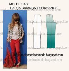 MOLDE BASE CALÇA CRIANÇA TAMANHO 116/6 ANOS ~ Moldes Moda por Medida