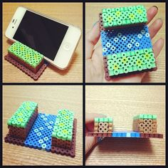 iPhone Stand perler beads by Asami Nagasaki, so I can watch minecraft videos on my phone/iPod. Pixel Beads, 3d Perler Bead, Diy Perler Beads, Fuse Beads, Pearler Beads, Melty Bead Patterns, Pearler Bead Patterns, Perler Patterns, Beading Patterns