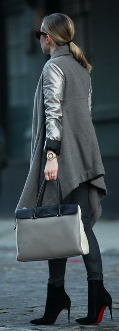 Grey Contrast Metallic Sleeve Coat by Brooklyn Blonde