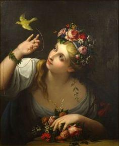 Jeune femme à l'oiseau,  après Jean Raoux