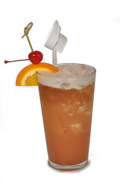 #Rock Me Baby recipe. Ingredients: 1.5 oz White rum 1.5 oz Banana Liqueur 1/2 oz Melon Liqueur 1 oz Orange, Pineapple and Cranberry juice 0.25 oz Myers Rum  In a pint glass, mix all ingredients together. Shake and pour  then top of with Myers rum. Garnish with an orange slice and a cherry on a pick. #BBKing #drinks