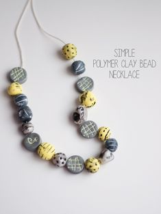 Simple Polymer Clay Bead Necklace - this heart of mine