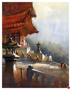 Kiyomizu Temple - Kyoto by Thomas W. Schaller Watercolor ~ 24 inches x 18 inches