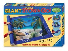 """Ravensburger Giant Stow And Go by Ravensburger. $24.03. Stow your puzzle away in a space saving way. Ideal working, storage and transport system for your unfinished and finished jigsaw puzzles. Secure it with 3 rubber bands supplied. The 59"""" x 39"""" felt mat holds puzzle formats of up to 3000 pieces. Inflate the tube and simply roll up your puzzle on the felt mat. From the Manufacturer                Puzzle accessories                                    Product Desc..."""