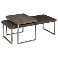 Set of 2 nested coffee tables with burnt oak finishes.   Product: Cocktail and end tableConstruction Material: ...