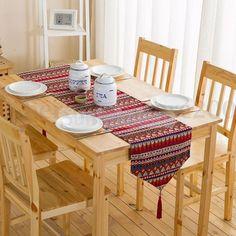 Red Rectangle Table Runner Bohemian Cotton Linen Table Cloth Mat 30*220Cm