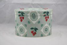 Hannah's Treasures Vintage Wallpaper Bandbox (Card Box)  Cherry and Strawberry Design