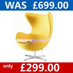 Hot Sale!!!  Arne Jacobsen Style Egg Chair &  Yellow Cashmere Wool fabric