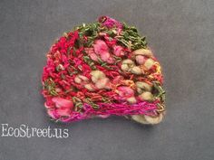 Baby Girl Hat Newborn Crochet Hat in Pink and Green by EcoStreet, $27.00
