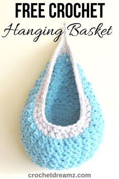 Crochet Hanging Basket, A Free Crochet Pattern - Make this easy hanging crochet basket using Bernat Blanket yarn. This tutorial teaches you how to make a sturdy chunky basket with simple step by step instructions. Crochet Basket Tutorial, Crochet Basket Pattern, Knit Basket, Crochet Patterns, Crochet Baskets, Basket Weaving, Macrame Patterns, Crochet Simple, Chunky Crochet