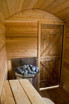 Mobile Sauna interior with gas-fired heater