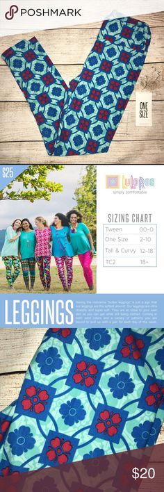"""NWT LuLaRoe OS leggings in blue and red NWT LuLaRoe leggings!   Having the nickname """"butter leggings"""" is just a sign that our leggings are the softest around. Our leggings are ultra stretchy and super soft. They are as close to your own skin as you can get while still being clothed. Coming in both solid colors and a variety of patterns you are bound to end up with a pair for each day of the week. LuLaRoe Pants Leggings"""