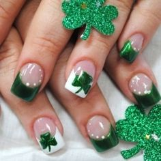 Green & White French Tips with Shamrocks | Beauty Tips N Tricks